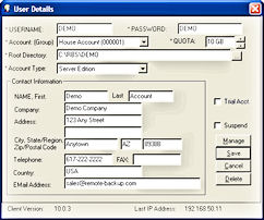 Online Backup Server User Details